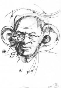 Леонид Г. в творчесте (шарж - бумага, перо)