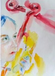 Автопортрет со скрипкой - бумага,акварель