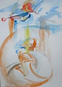 Ангел в тени - бумага,акварель, 2013 г.