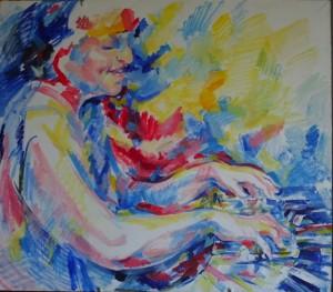Волшебная пианистка Дина Йоффе - холст, акрил