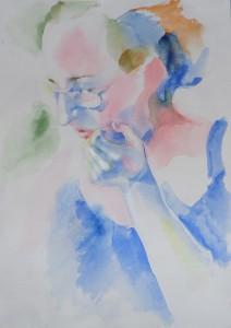 Галка (Анютина мама). Бумага, акварель. 2016 г.