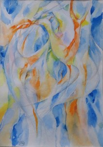 «На бледно-голубой эмали».. О. Мандельштам, Бумага, акварель