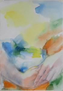 «На перламутровый челнок/Натягивая шелка нити,/О пальцы гибкие, начните/Очаровательный урок!»…(Мандельштам) — Бумага, акварель, карандаш.