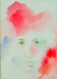 «Нежнее нежного/Лицо твоё,/Белее белого/Твоя рука..»(Мандельштам М.Цветаевой) -бумага, акварель.